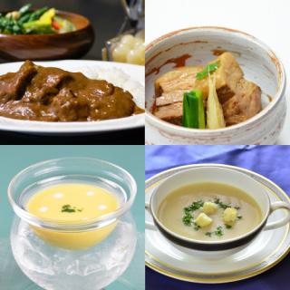 ビーフカレー・黒豚角煮・スープ2種セット